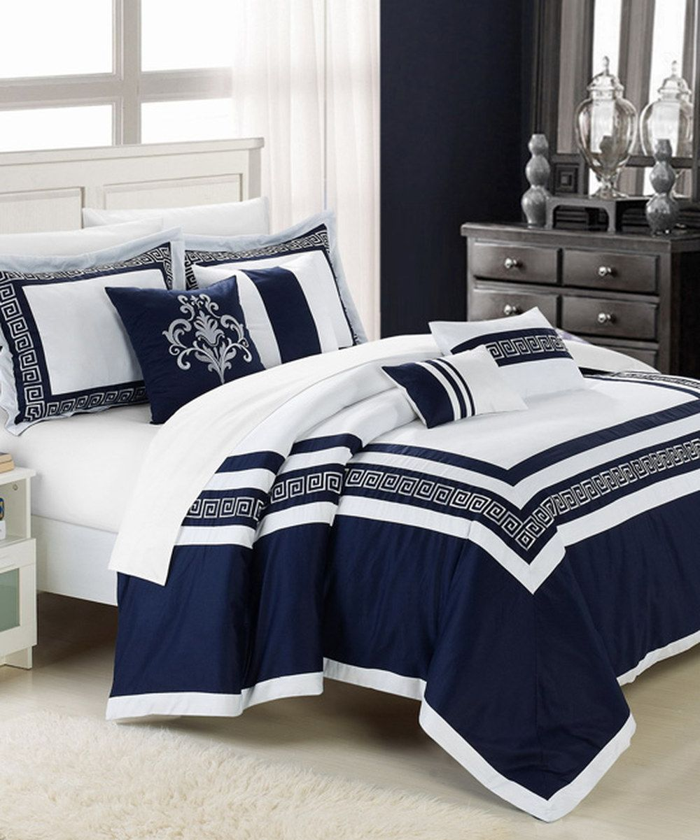 Look At This Blue Venice Embroidered Comforter Set On Zulily Today Blue Comforter Sets Blue And White Comforter Blue Bedroom