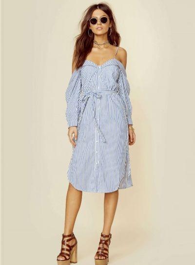 58279f2cef996 Spaghetti Strap Off Shoulder Button Down Striped Dress