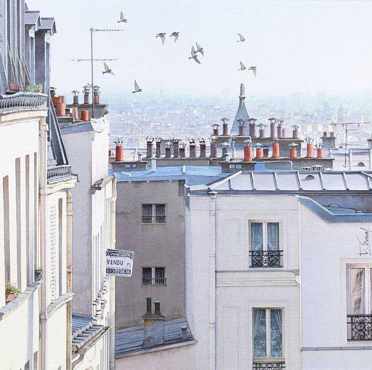 Thierry Duval Avec Images Toits De Paris Illustration