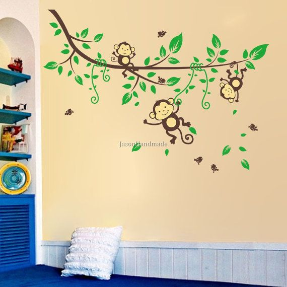 Monkey Wall Decal Monkey Swing on the Tree Branch Wall Stickers ...