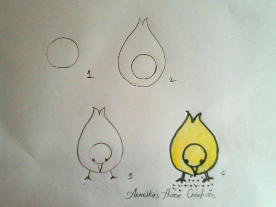 How to draw a baby chicken - photo#33