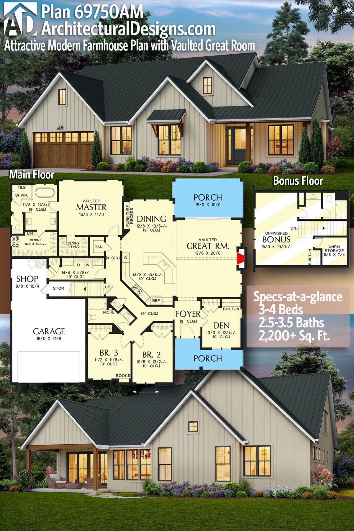 Plan 69750am Attractive Modern Farmhouse Plan With Vaulted Great Room In 2020 Modern Farmhouse Plans Farmhouse Plans House Blueprints