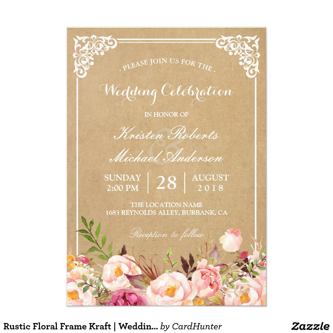 Rustic Fl Frame Kraft Wedding Celebration Card
