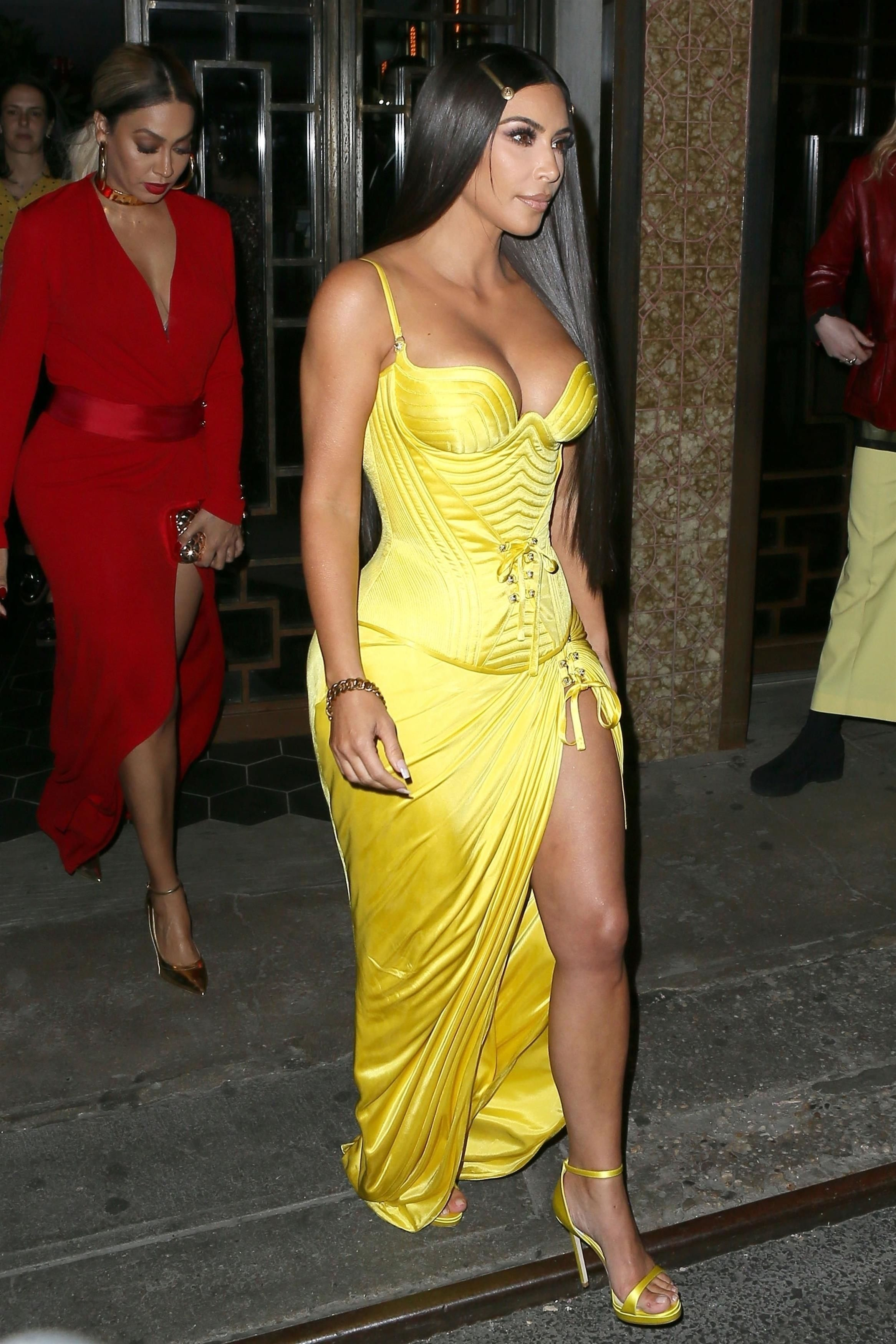 288a1be64f5 Kim Kardashian wearing Versace Strappy Sandals