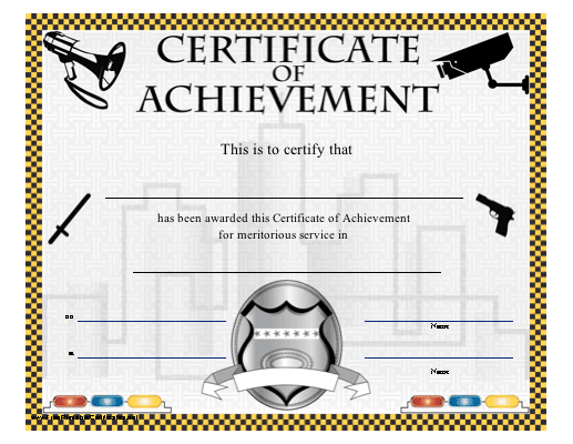 A printable certificate honoring meritorious service in public certificate of achievement law enforcement and security printable certificate yadclub Images