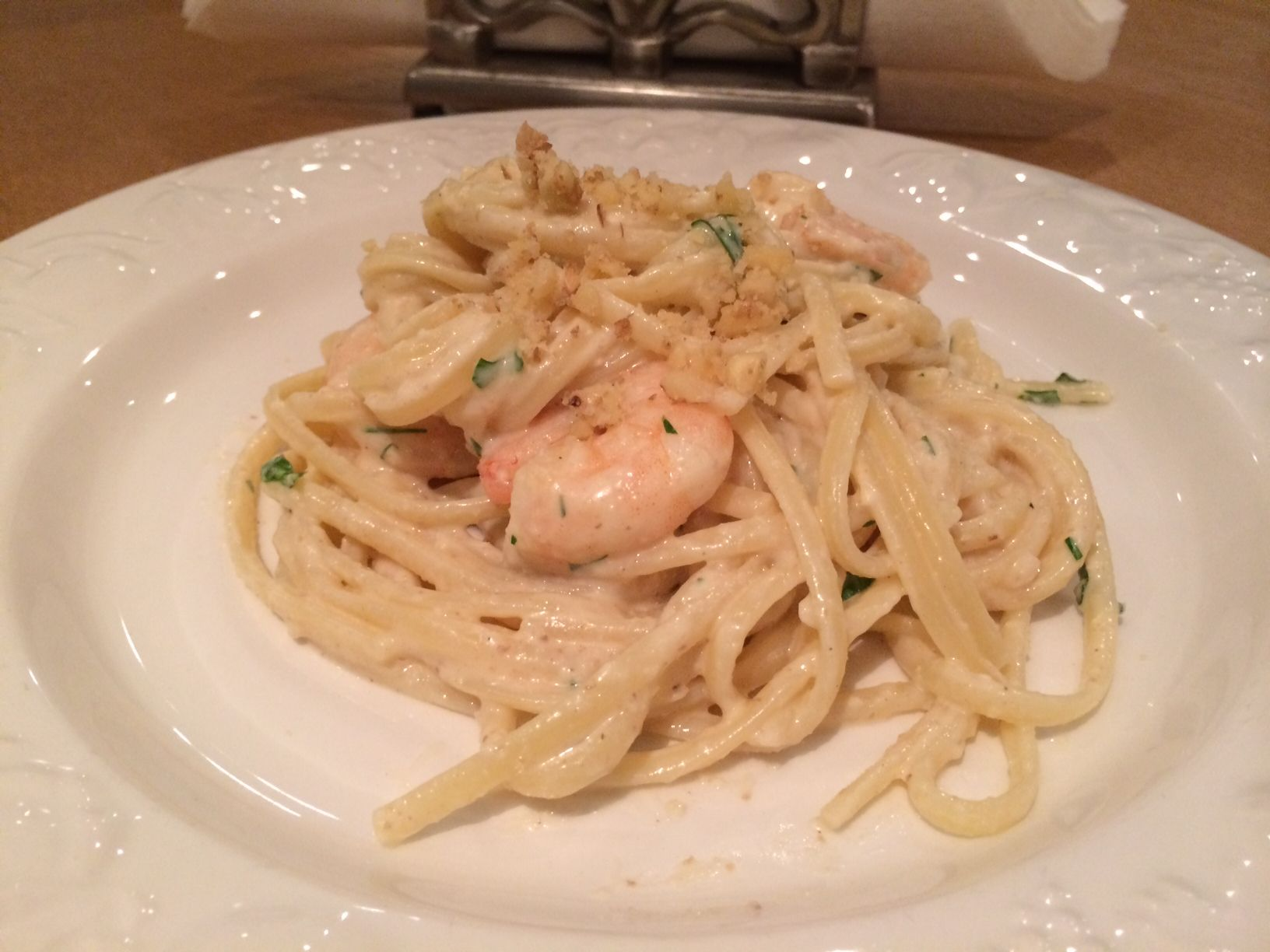 Indulge yourself with a portion of #Linguine with #prawn tails and #walnuts...mmm