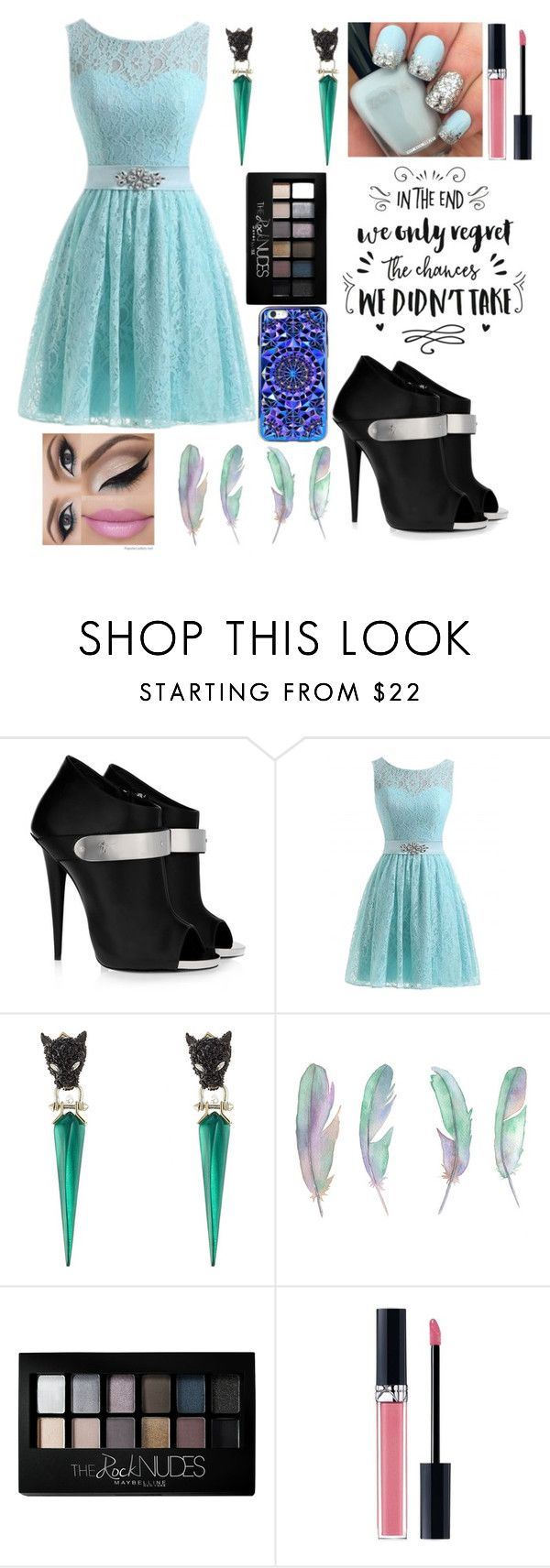"""""""Elegant blue"""" by maria-cristina-7 ❤ liked on Polyvore featuring Giuseppe Zanotti, Alexis Bittar, Maybelline and Christian Dior"""