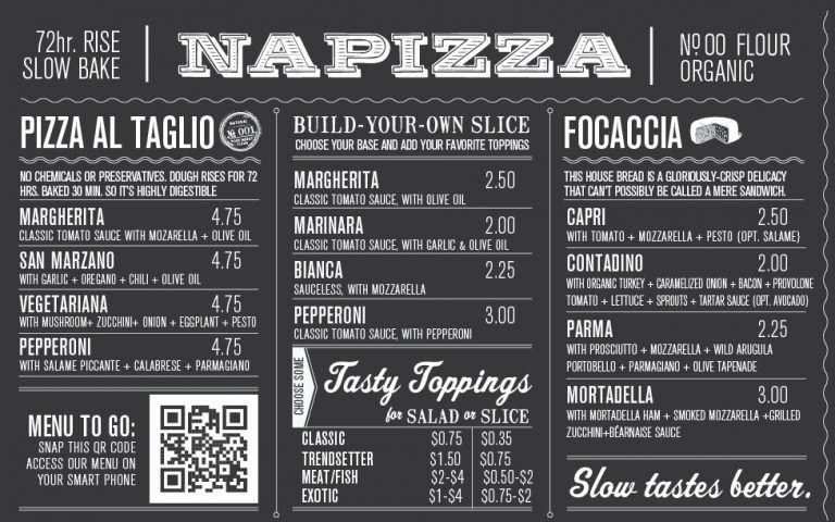 Napizza Wall Menu Closeup Chalkboard Restaurant Menu Restaurant Restaurant Branding