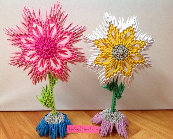 Flower vase 3D Origami Flower origami by OrigamiPhiLong on Etsy