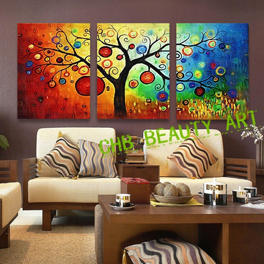Paintings For Living Room Wall 3 Panel Lucky Tree Modern Abstract Print Painting Unframed Wall