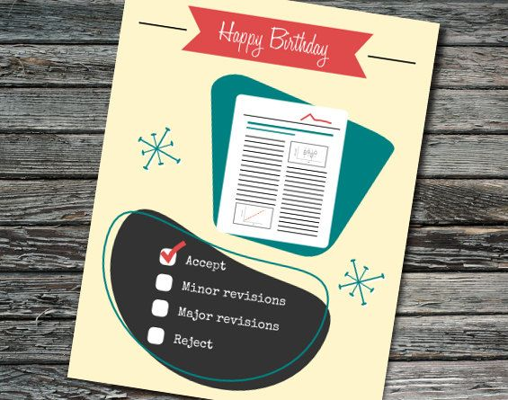 Nerdy Science Birthday Card Peer Reviewer Birthday Academia