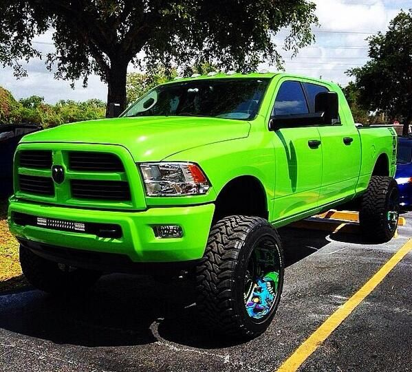 Bright Lime Green Dodge Ram Lifted Truck Oversize Tires If This Was Only A Chevy Still Love It Tho Trucks Dodge Trucks Jacked Up Trucks