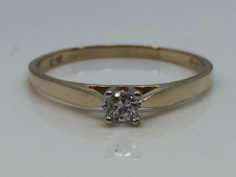 10K YELLOW GOLD SOLITAIRE CZ CUBIC ZIRCONIA CHILD'S BABY RING #Solitaire