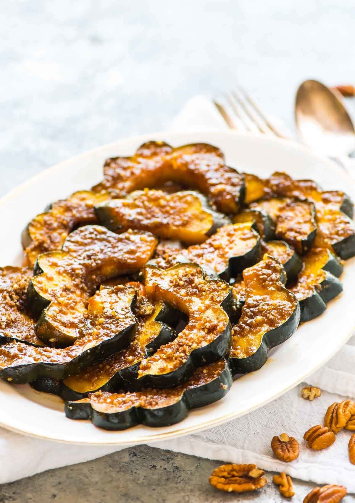 Baked Acorn Squash Slices With Brown Sugar And Pecans Less Than