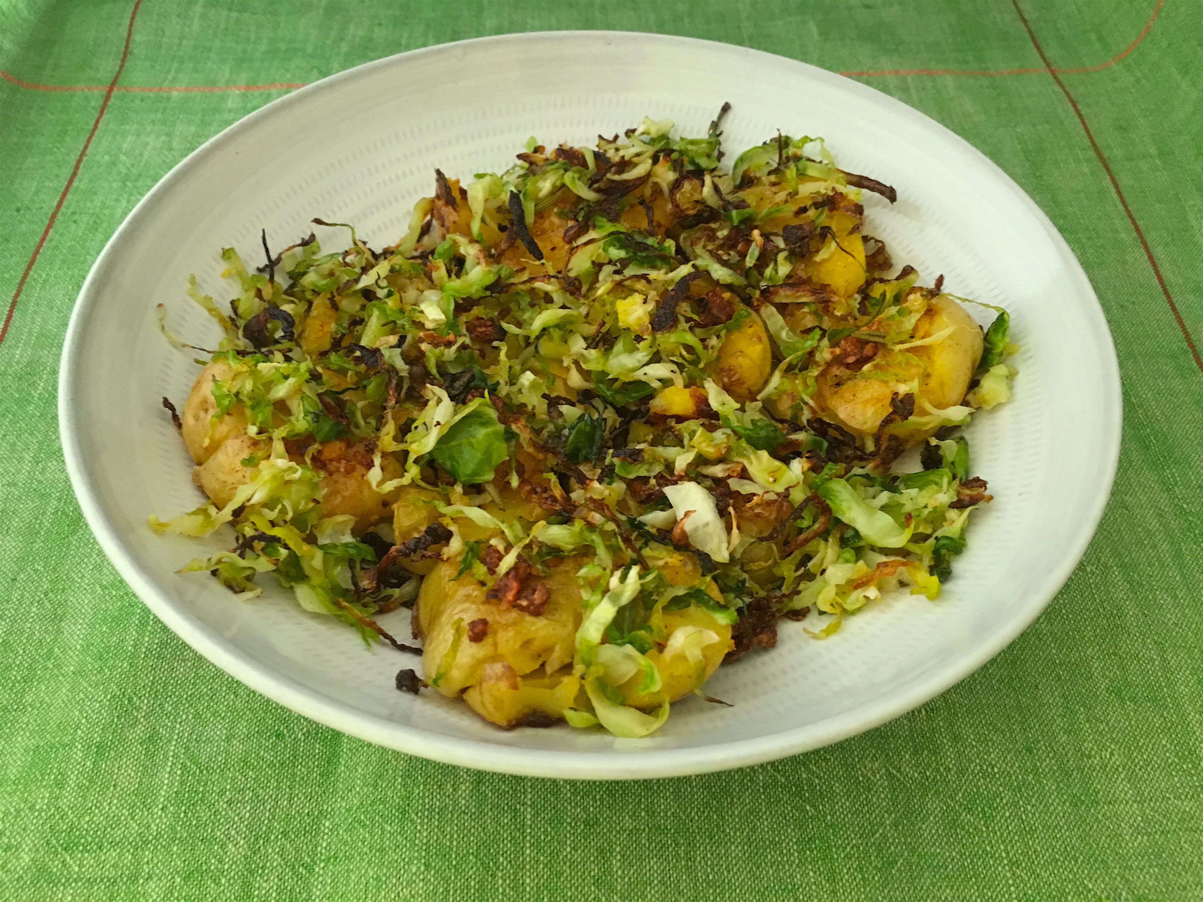 Smashed Potatoes with Shredded Brussels Sprouts #smashedbrusselsprouts