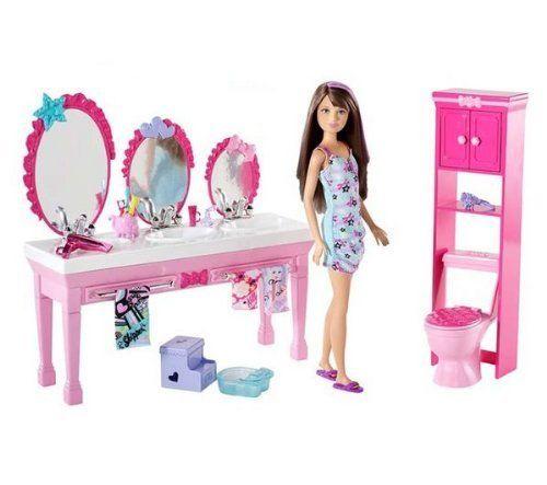 Barbie T7535 Mobilier De Puppe Mobel Schwestern Badezimmer Barbie Puppen Geschenkideen Geschenk Mad Barbie Badezimmer Barbie Puppe Haus Mattel Barbie