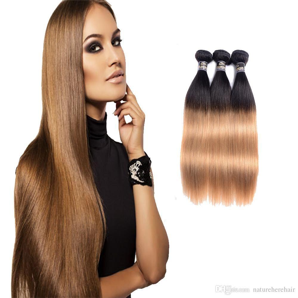 Ombre Brazilian Hair Straight Bundle Free Shipping Tone Blonde Human