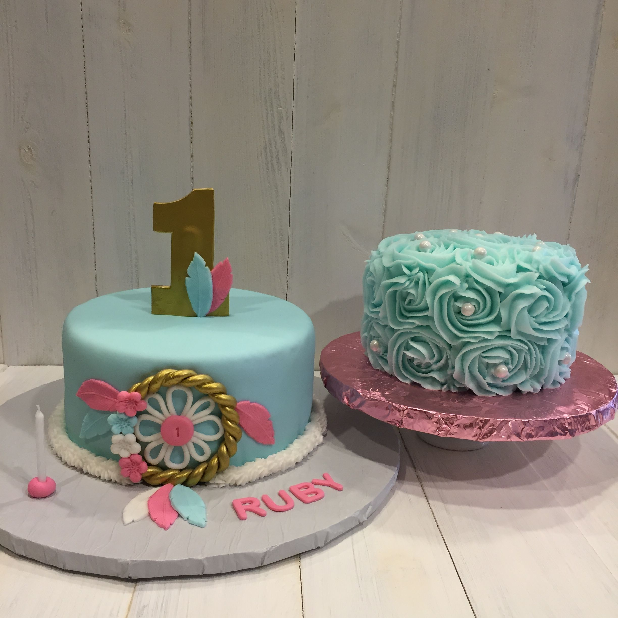 1st birthday cake with matching smash cake Dreamcatcher cake for