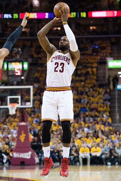 aa165a72c86aaa LeBron James Photos - LeBron James  23 of the Cleveland Cavaliers shoots a  three point jump shot during the first half of the NBA Eastern Conference  ...