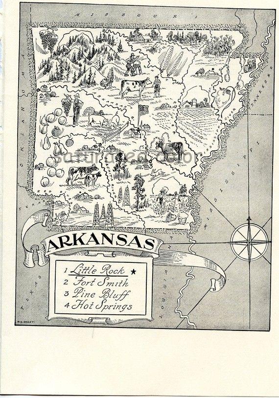 Arkansas Map - A Delightfully Amusing ORIGINAL 1950s Vintage Map ...