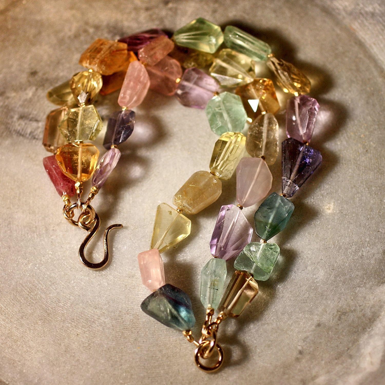 GEMMA Mixed Gemstone Bracelet. 235.00, via Etsy