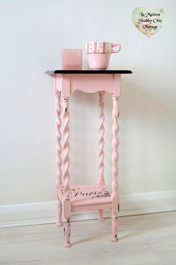Pink Bedside Table: SOLD Vintage Pink Paris Stencil Bedside Table Unit Plant