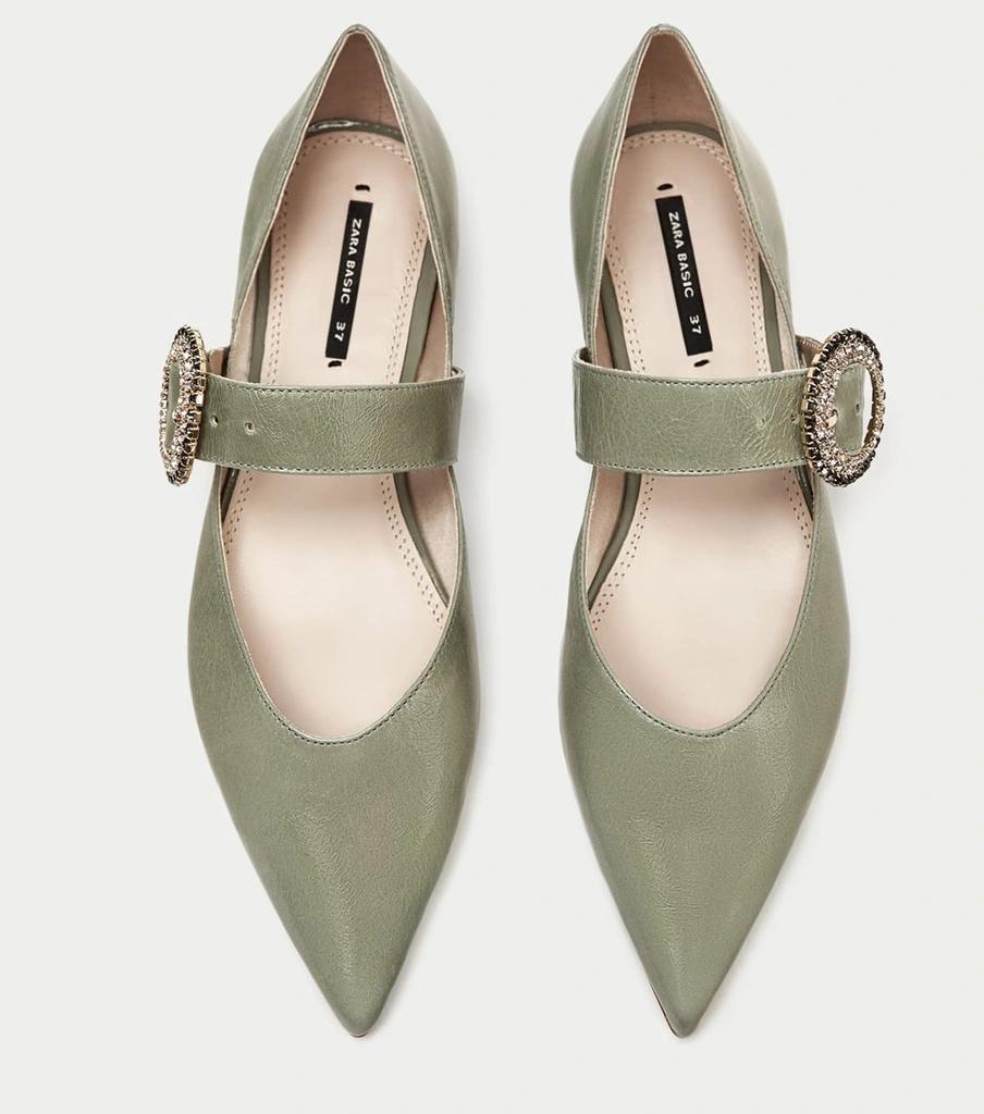 Zara Balerinki Skora Bizuteryjna Klamra Zielone 37 7514680135 Oficjalne Archiwum Allegro Shoes Fashion Flats