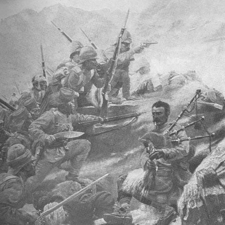 Seriously great picture of the Gordon Highlanders and Ghurkas attacking the Dargai Heights during the Tirah Campaign 1897.  The Piper is George Findlater who won a VC after carrying on playing his pipes despite being wounded in both feet.