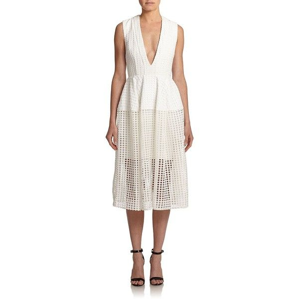 NICHOLAS Grid Cutout A-Line Dress featuring polyvore fashion clothing dresses apparel & accessories white deep v-neck dress full skirt white sleeveless dress sheer dress white dress