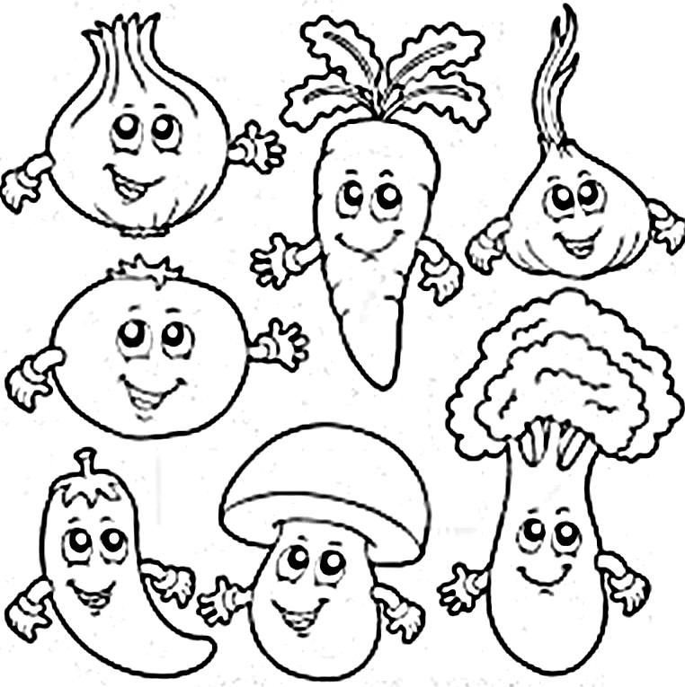 Fruits And Veggies Coloring Pages. Healthy Eating Coloring