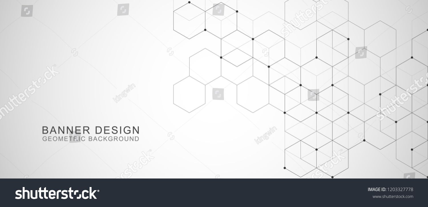 Vector Hexagons Pattern Geometric Abstract Background With Simple