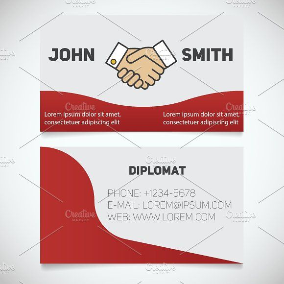 Business card print template vector pinterest print templates vector graphics business card print template diplomat handshake agreement logo stationery design concept vector by icons factory reheart Image collections
