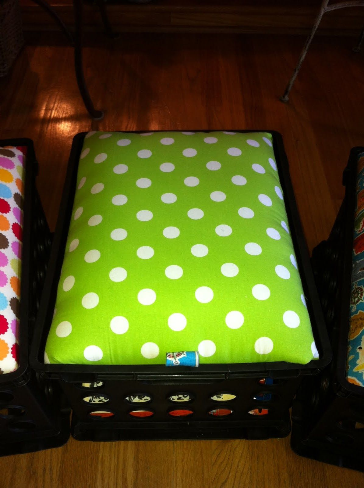 TO DO: Crate Sit-upons tutorial! Gather my fabric remnants and old crates...these look cute!