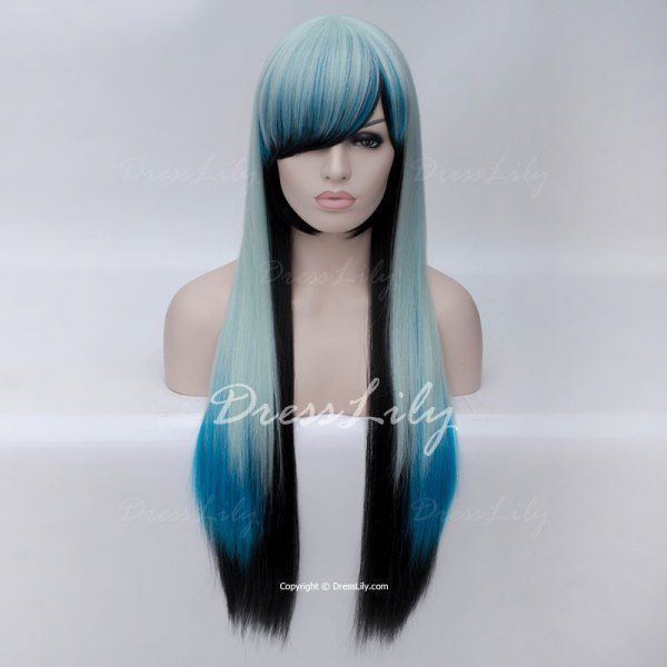 Trendy Ombre Side Bang Long Straight Charming Heat Resistant Synthetic Women s  Cosplay Wig 637ec5a7d6