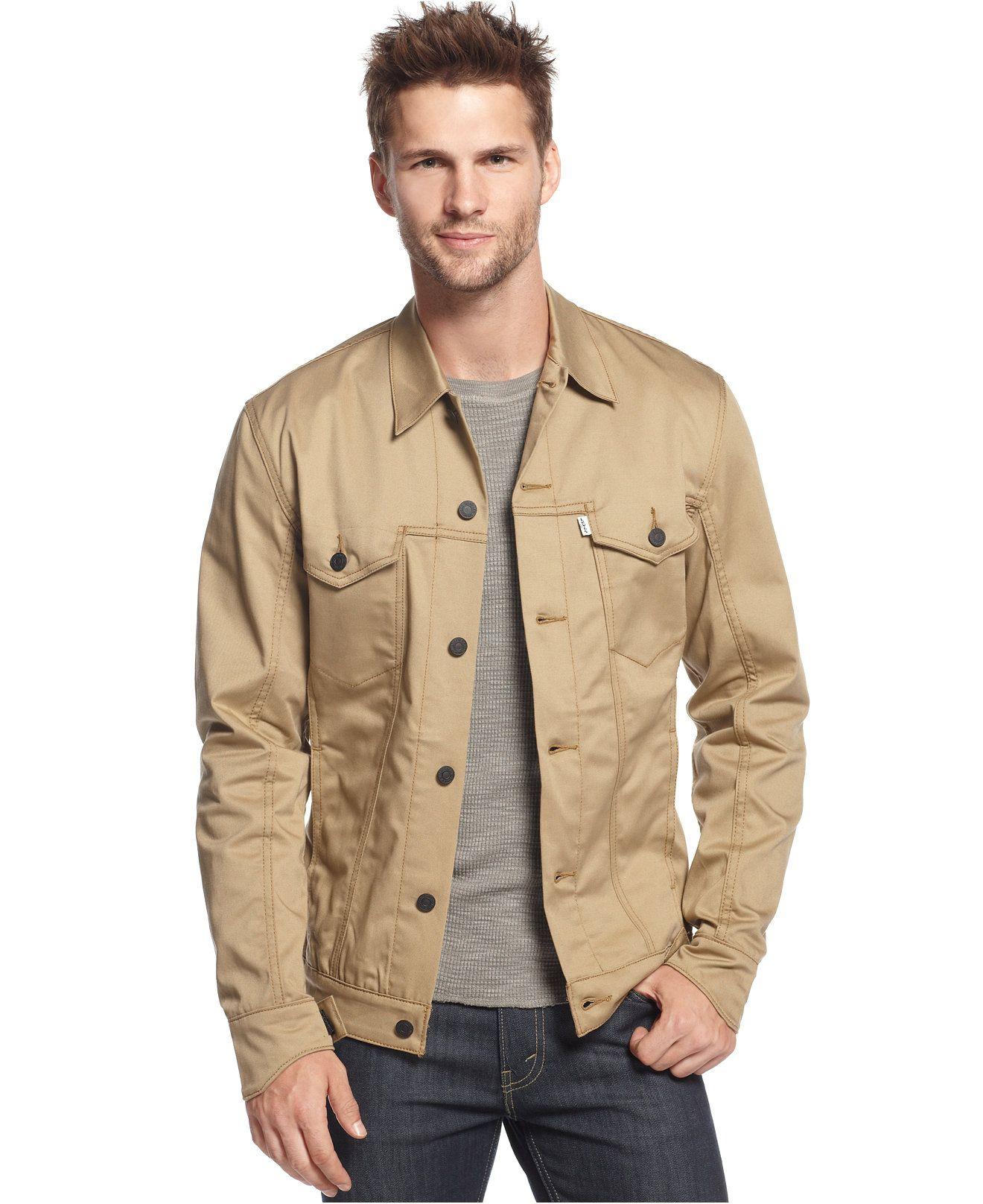 Mens khaki jacket casual - Levi S Commuter Harvest Gold Twill Trucker Jacket Coats Jackets Men Macy S