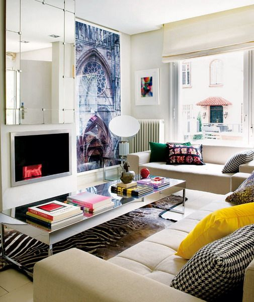 Delightful Ideas Living Room In Spanish Apartment. I Love The Mirror Idea On The Wall  And Home Design Ideas