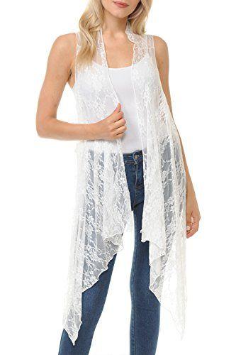 1b99067018bbf BASICO Women's Open Asymmetrical Hem Print Chiffon Vest Cardigan ...