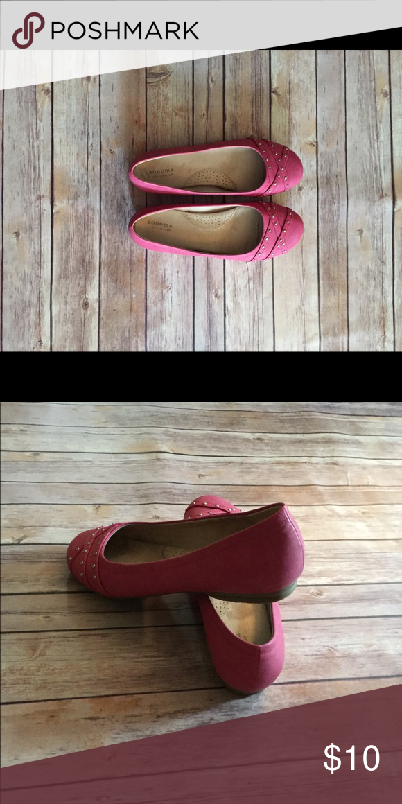Pink slides Pink flats with studded embellishments. Like new. Comfortable fit Sonoma Shoes Flats & Loafers
