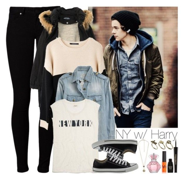 """""""NY with Harry"""" by horan22 ❤ liked on Polyvore featuring Vero Moda, Humör, Ash Rain + Oak, Current/Elliott, Madewell, Converse, Forever 21, Classics 77 and Napoleon Perdis"""