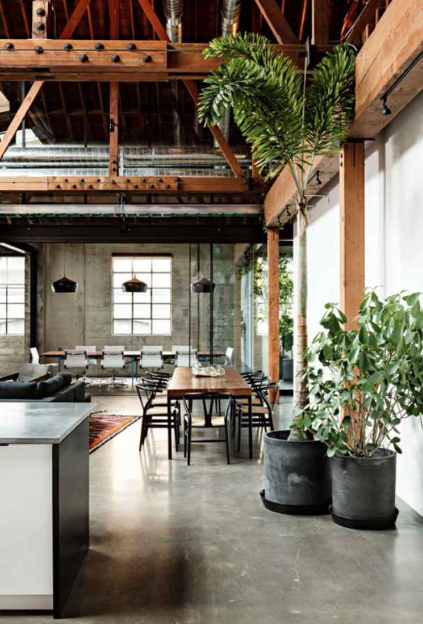 Dreamy rustic homes  amp gardens industrial house interiors flooring also office spaces pinterest rh
