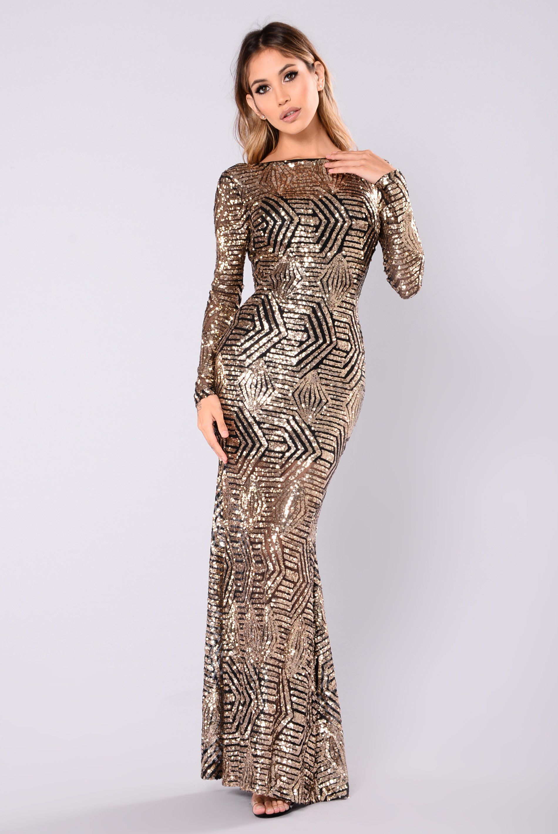Emely sequin dress blackgold black gold sequins and gold