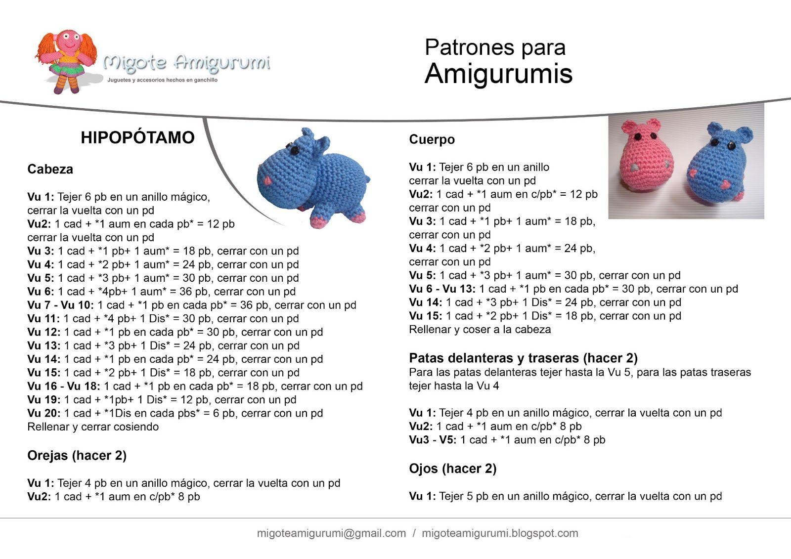Hipopótamo Amigurumi ~ Patrón Gratis en Español | Amigurumi ...