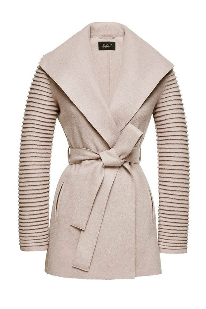 SENTALER Luxury Outerwear  Wrap Coat with Ribbed Sleeves - Chamois ... bcebab126ad
