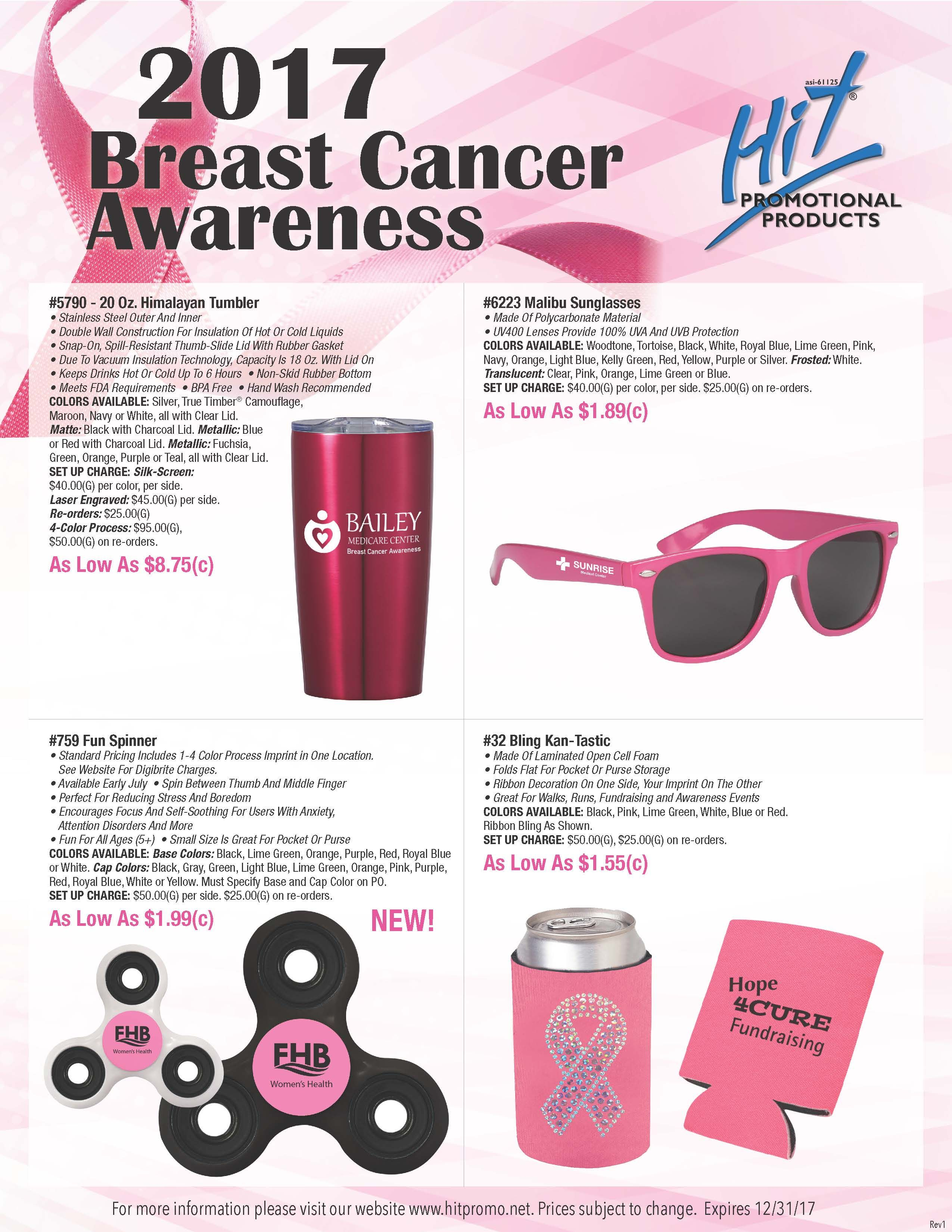 d9cf723d9f44e Start thinking pink! October is Breast Cancer Awareness Month. Show support    help raise awareness to the cause with primo promo ideas from Hit!