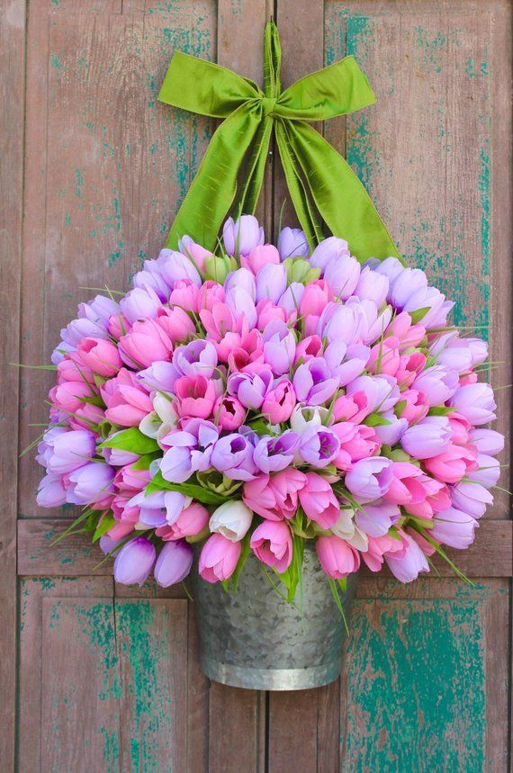 Photo of Spring wreath – tulip wreath – pink wreath – Easter wreath – choose color – many to choose from
