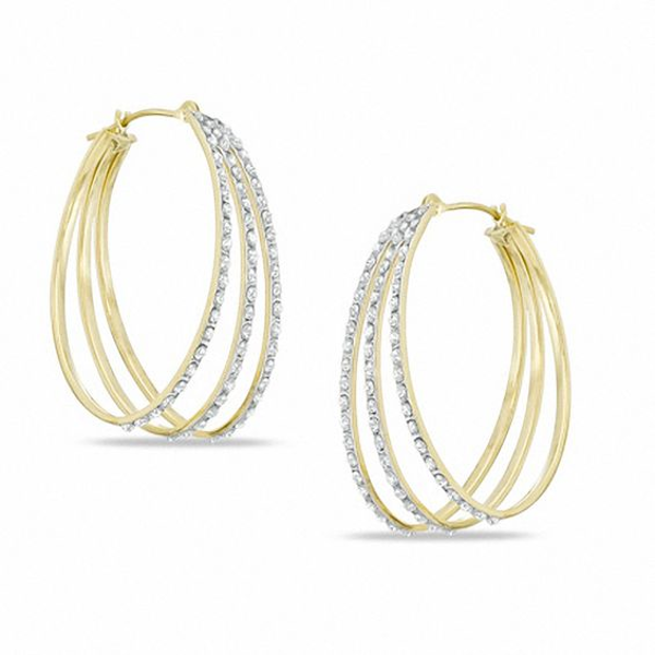 a296cbce4 Diamond Fascination™ Triple Hoop Earrings in Sterling Silver and 18K Gold  Plate
