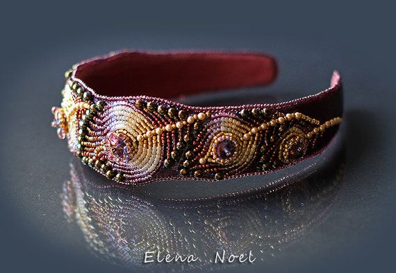 Embroidered headband   Luxurious accessory, embroidered Japanese beads and crystal pearls Swarovski in Italian leather, stitched suede, so it does not