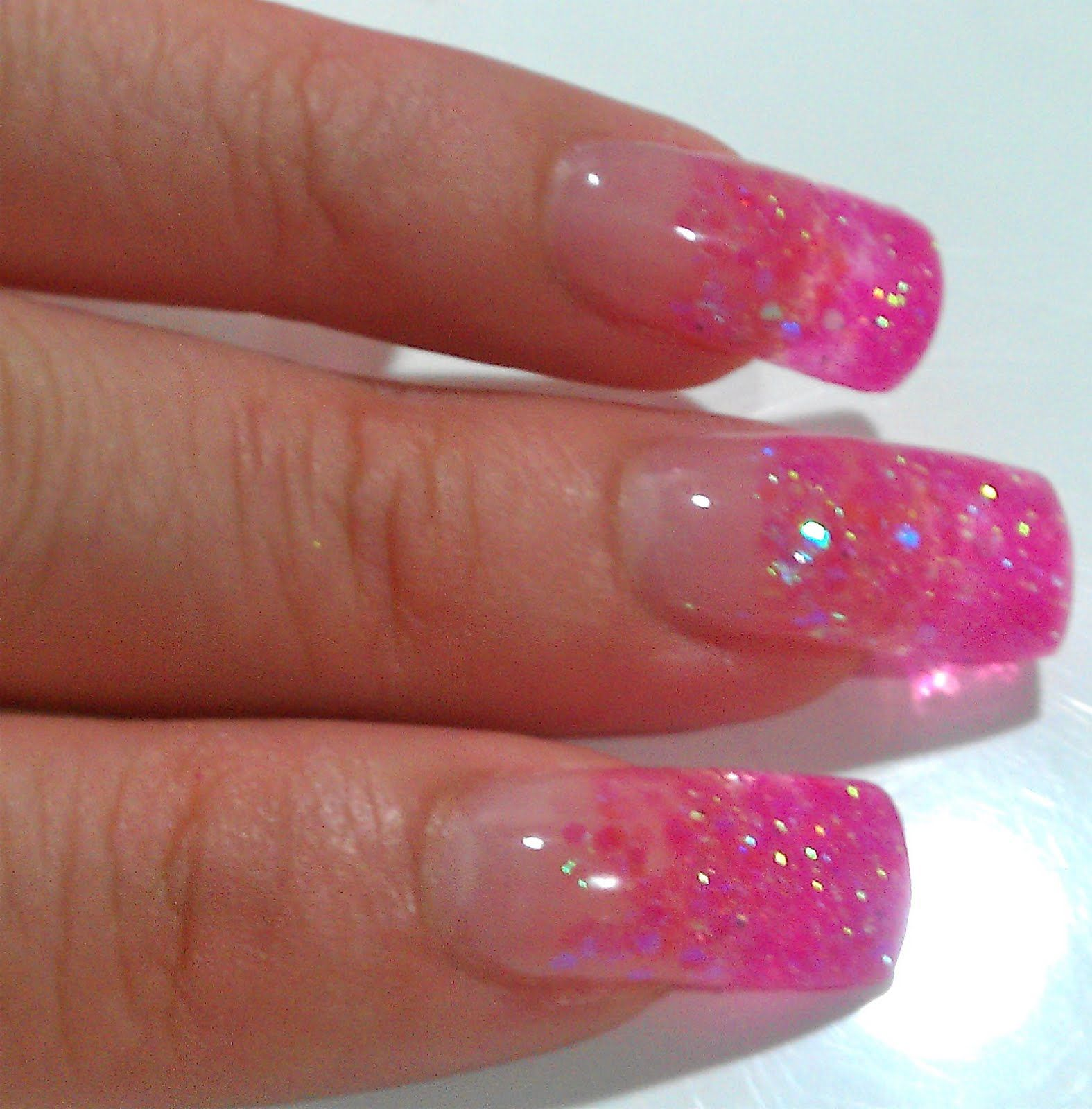 uv gel nails | notd: pink glitter gel nails | nails | pinterest