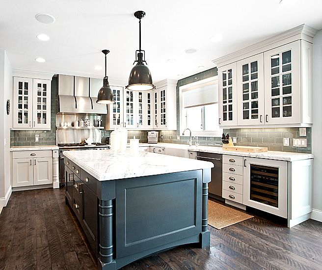 white & peacock blue kitchen + gray subway backsplash