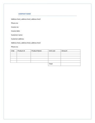 Simple Blue Product Invoice Template | Invoice Templates